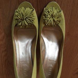 J Crew greenish yellow suede heels, made in Italy